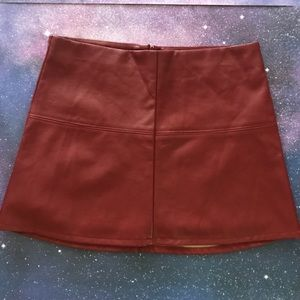 Jolt faux leather red skirt